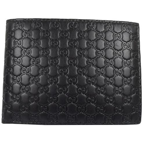 GUCCI 經典小雙G LOGO皮革壓紋雙折中短夾.黑