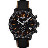 TISSOT T-Sport Quickster 競速運動計時腕錶-黑x橘/42mm T0954173605700