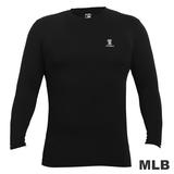 (男)MLB-德州遊騎兵隊高領熱力棉T恤-黑