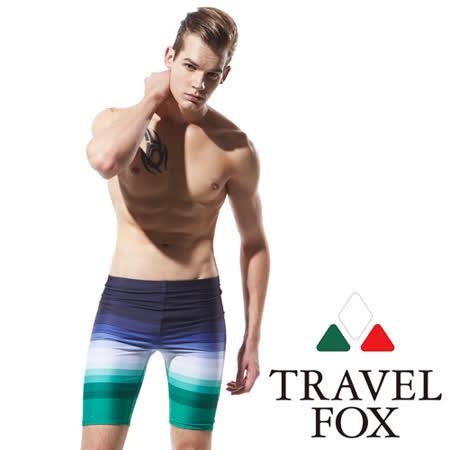 TRAVELFOX 旅狐 大男漸層數位印花七分泳褲