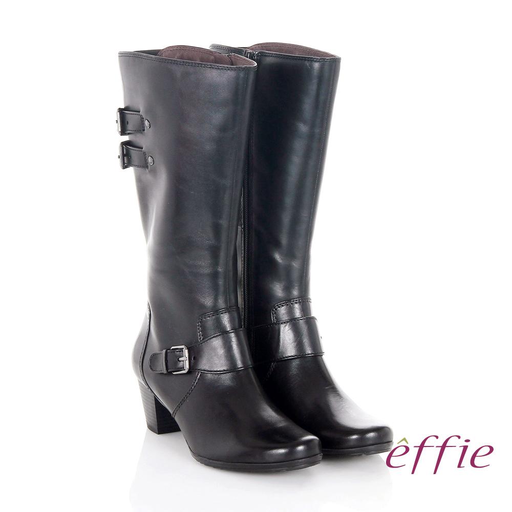 【effie】魅力時尚 復古素面拼接方扣粗跟長靴(黑)