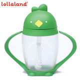 【lollacup】美國 可愛造型小雞杯 - 寳寳吸管學習杯/ 綠油雞 / 綠色 296ml