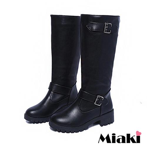~Miaki~長靴韓帥氣雙釦飾內絨毛高筒低跟包鞋  黑色