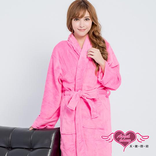 【天使霓裳】保暖睡袍 亮麗綺想 柔軟珊瑚絨一件式綁帶連身睡衣(深粉F)