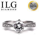 【頂級美國ILG鑽】八心八箭仿真鑽石戒指-1克拉萊茵河款 RI097 側面精緻雕花設計(白K金色)