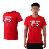 (男女) NBA 公牛隊-美國職籃印花圓領短袖T恤-籃球 CHICAGO BULLS 紅白黑