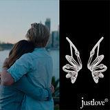 【justlove璀璨配飾】晶鑽開運纏綿繾綣垂墜針式耳環(銀 ER-0016)