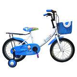 Adagio 16吋大頭妹打氣胎童車附置物籃-白藍(台灣製造)