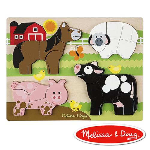 美國瑪莉莎 Melissa & Doug 厚塊拼圖  - 農場動物