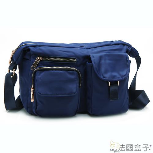 【法國盒子】慢活時尚率性多口袋二用包(寶藍)907