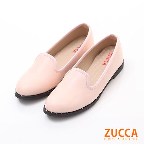 ZUCCA【Z6018WE】素面皮革車紳士鞋-白色