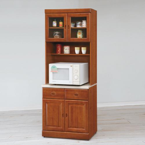 AS-安妮塔實木樟木色2.7尺石面高餐櫃