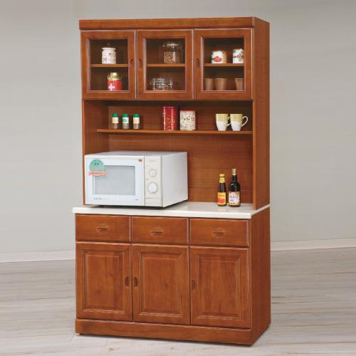 AS-安妮塔實木樟木色4尺石面高餐櫃
