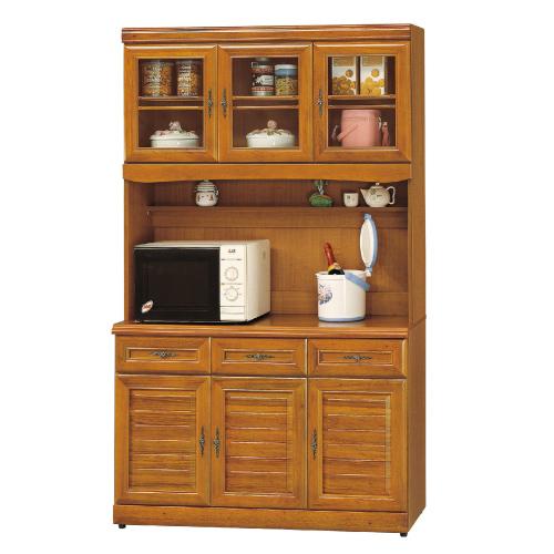 AS-愛瑪4尺實木樟木色高餐櫃