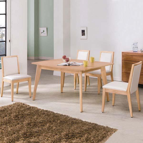 ~Homelike~羅格5尺餐桌椅組 一桌四椅 ~原木色