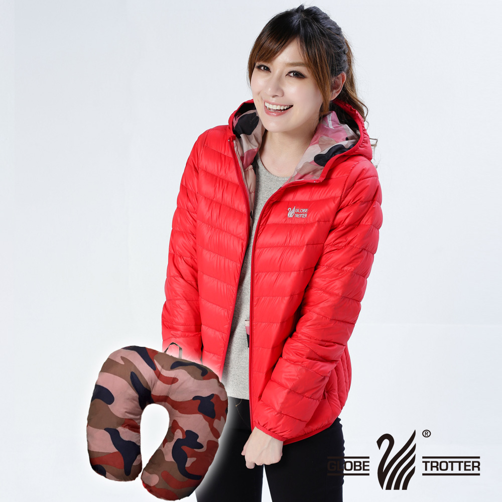 【遊遍天下】中性款JIS90%羽絨防風防潑水彎彎U型枕羽絨外套G0311紅色