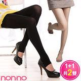 non-no 200丹天鵝絨 厚地保暖踩腳襪(1雙)+美型絲襪(1雙)
