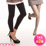 non-no 200丹天鵝絨 厚地保暖九分襪(1雙)+美型絲襪(1雙)