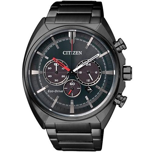 【CITIZEN 星辰】光動能夜行戰士三眼計時不鏽鋼腕錶(45mm/CA4285-50H)