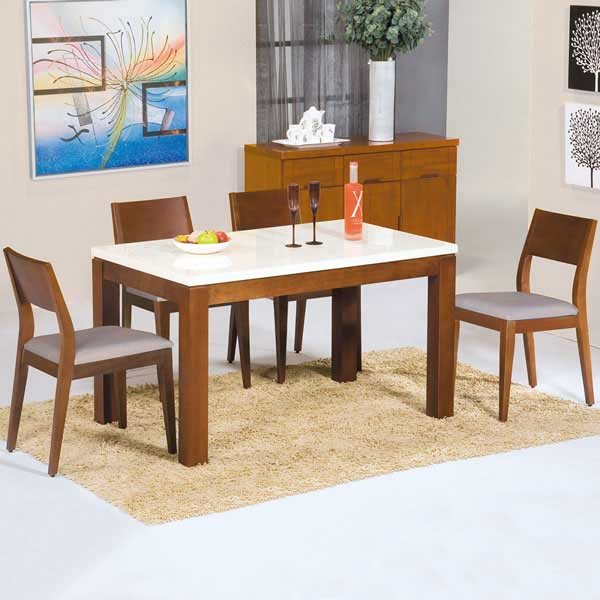 ~Homelike~芝妮雅4.3尺石面餐桌椅組 一桌四椅