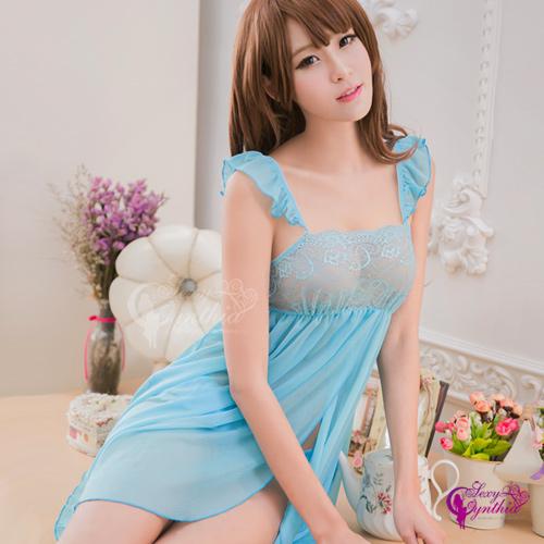 【Sexy Cynthia】性感睡衣 藍色柔紗雙層開襟二件式睡衣