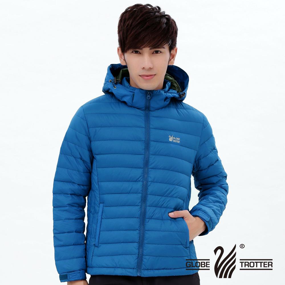 【遊遍天下】男款JIS90%羽絨防風防潑水修身連帽羽絨外套G0345藍色