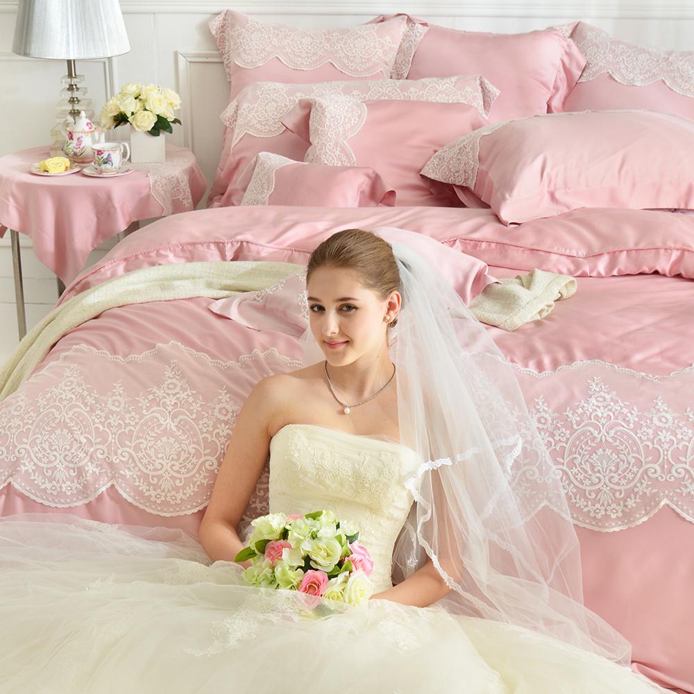 義大利La Belle 天絲蕾絲防蹣兩用被床組