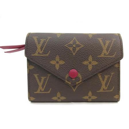Louis Vuitton LV M41938 Victorine 經典花紋扣式錢短夾.紫紅_預購