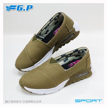 【G.P 女款氣墊輕量休閒懶人鞋】P5720W-61 橄欖綠色 (SIZE:36-40 共二色)