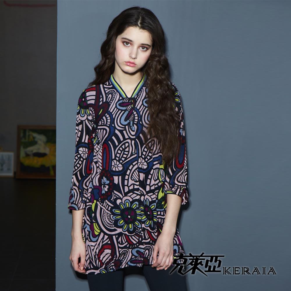 【克萊亞KERAIA】印花圖騰長版七分袖外套