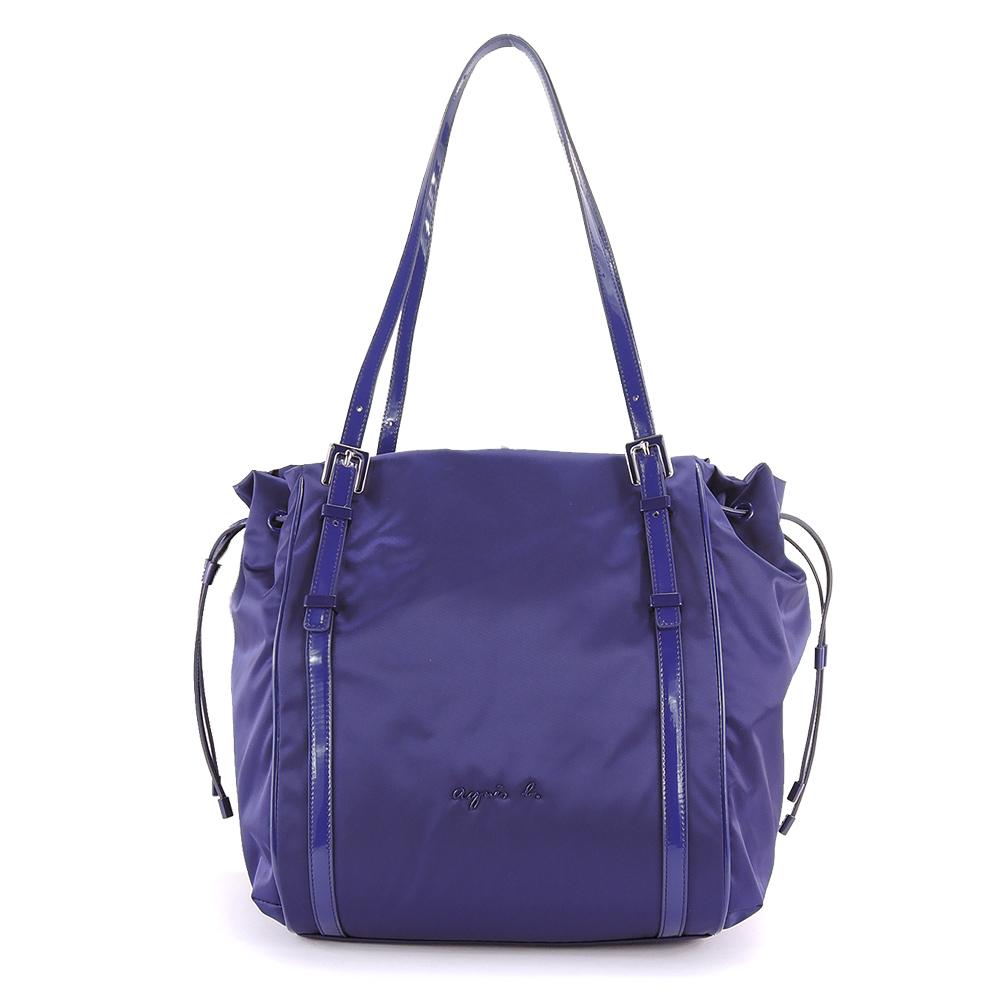 agnes b.琺瑯扣飾束帶三層肩背包 (大/紫)