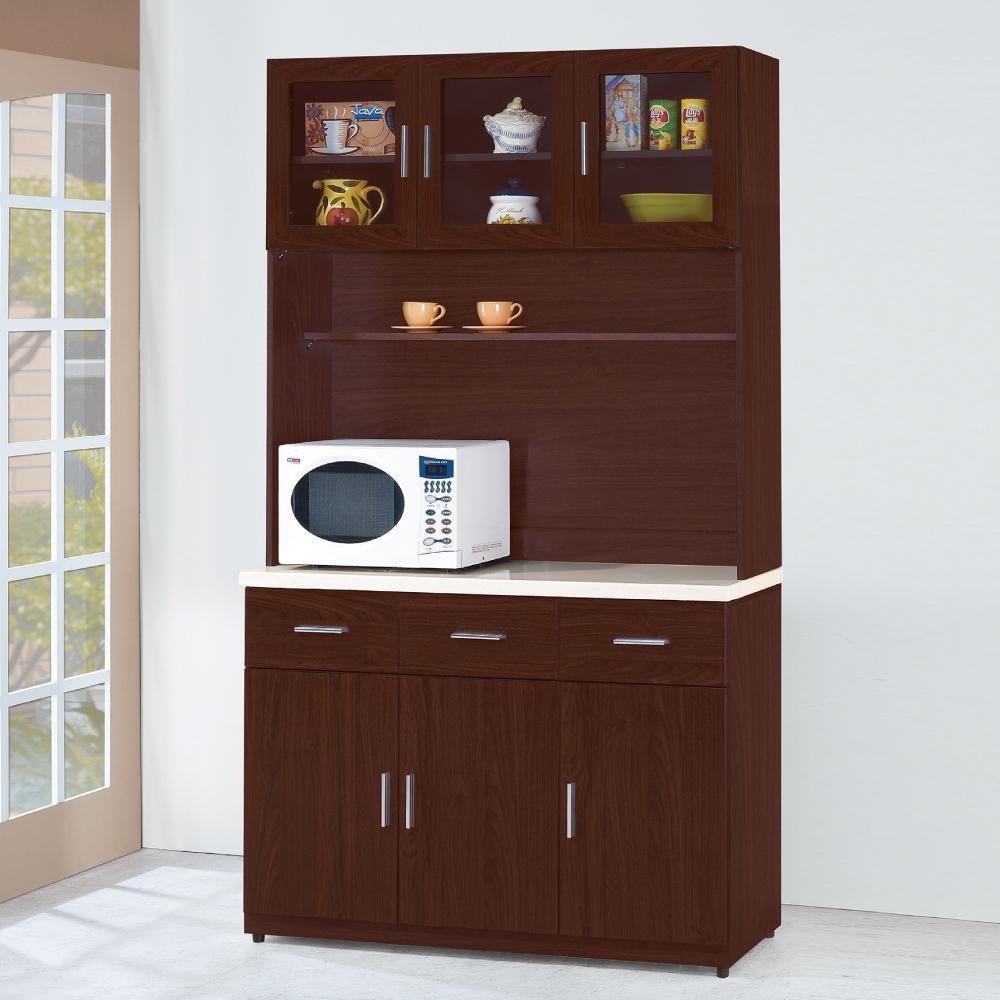 AS-安士姆胡桃色4尺石面高餐櫃