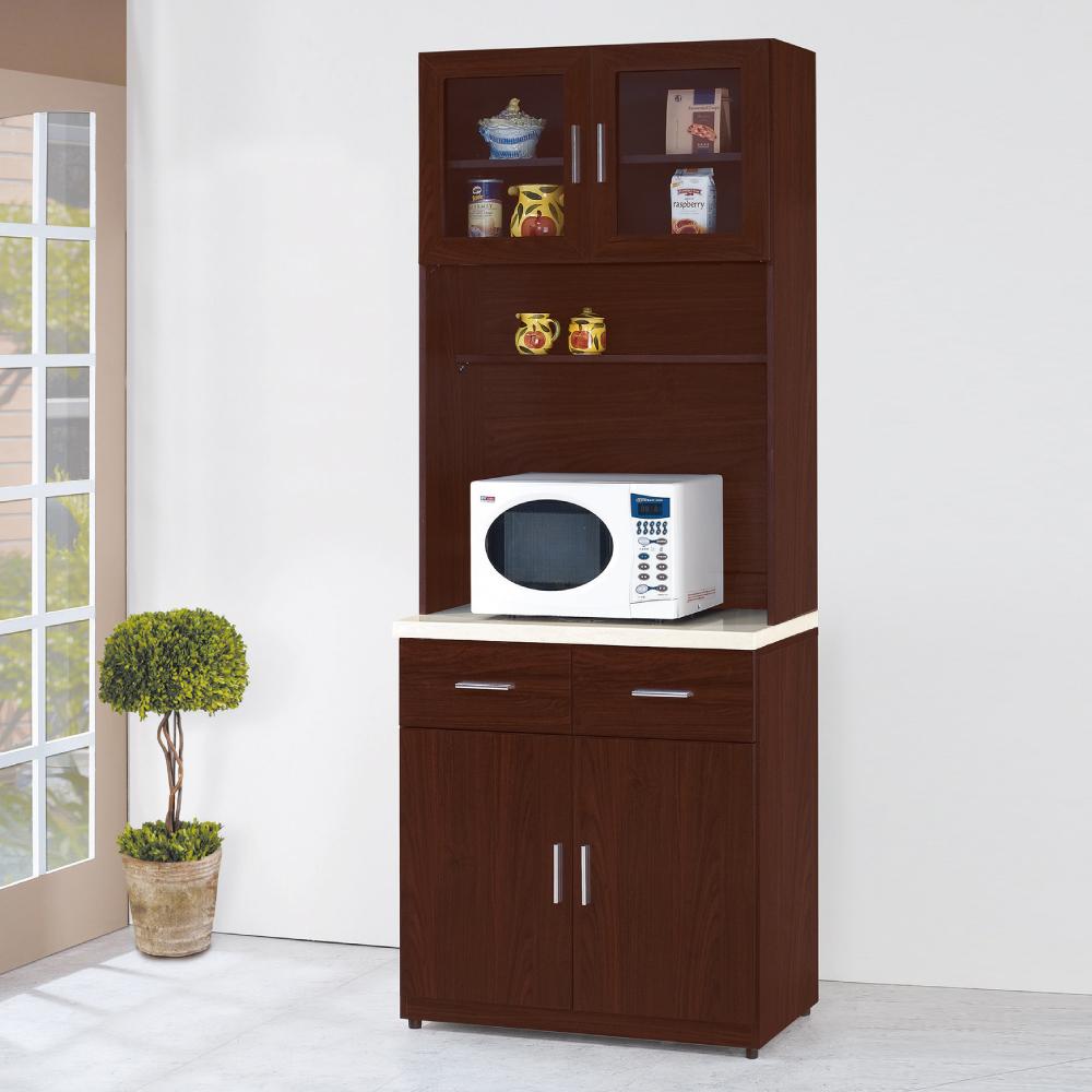 AS-安士姆胡桃色2.7尺石面高餐櫃