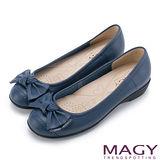 MAGY 清新氣質系女孩 紐結蝴蝶結牛皮低跟鞋-藍色