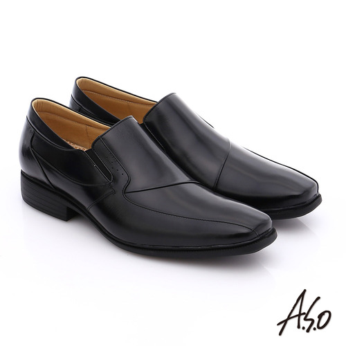 A.S.O 挺力氣墊 鏡面真皮直套式鬆緊帶奈米皮鞋(黑)