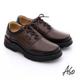 A.S.O 抗震雙核心 真皮彈力綁帶奈米休閒鞋(咖啡)