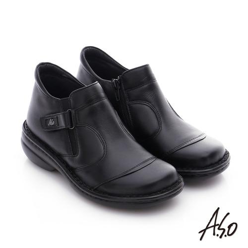 A.S.O 手縫氣墊-3E寬楦 真皮氣墊鞋(黑)