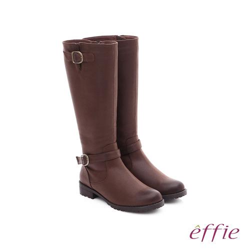 effie 混搭美型 仿麂皮絨布防潑水素面雙扣長筒靴(咖啡)