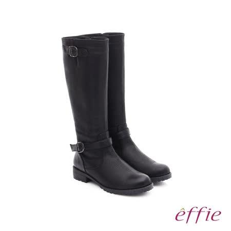 effie 混搭美型 仿麂皮絨布防潑水素面雙扣長筒靴(黑)