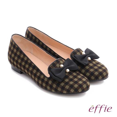 effie 都會舒適 全真皮豔彩格紋拼接珍珠蝴蝶低跟鞋 (橄欖綠)