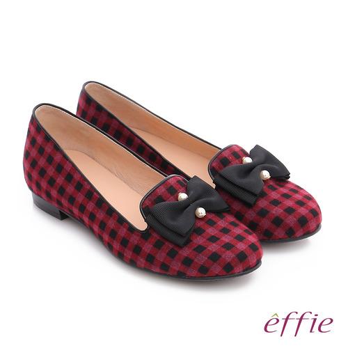 effie 都會舒適 全真皮豔彩格紋拼接珍珠蝴蝶低跟鞋 (紫紅)