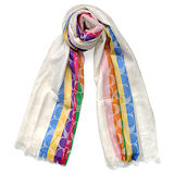 COACH米白C Logo彩色條紋羊毛混絲寬版長圍巾(167x61)