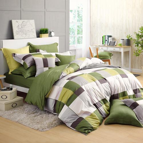 GOLDEN TIME-完美主義者-200織紗精梳棉兩用被套床包組(綠-加大)