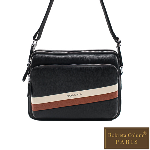 Roberta Colum - 真皮極簡雅痞款休閒橫式側背包