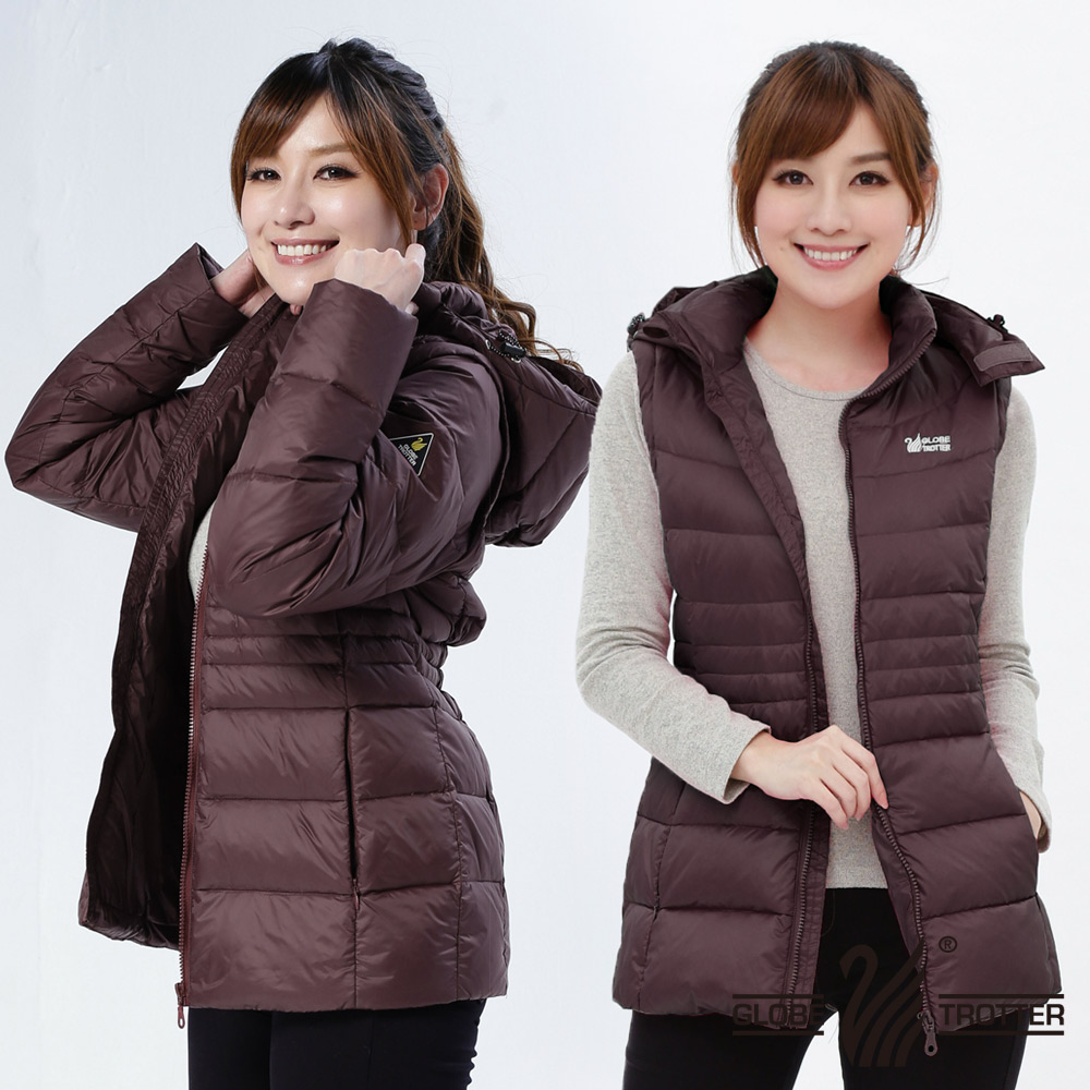 【遊遍天下】女款JIS90%羽絨防風防潑水背心外套二穿式羽絨外套G0326磚紅