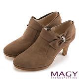 MAGY 復古甜心 高質感環鑽蝴蝶結牛皮高跟鞋-可可
