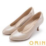 ORIN 簡約時尚OL 柔軟羊皮典雅素面高跟鞋-粉紅