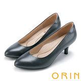 ORIN 簡約時尚OL 柔軟羊皮典雅素面高跟鞋-灰色