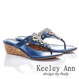 Keeley Ann 完美異國-簡單綴鑽飾真皮夾腳涼鞋(藍色531183160)