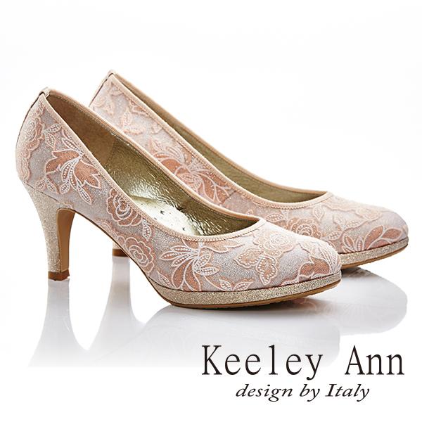 Keeley Ann 浪漫新娘-亮鑽玫瑰真皮軟墊舒適高跟鞋(淺粉色585158158)